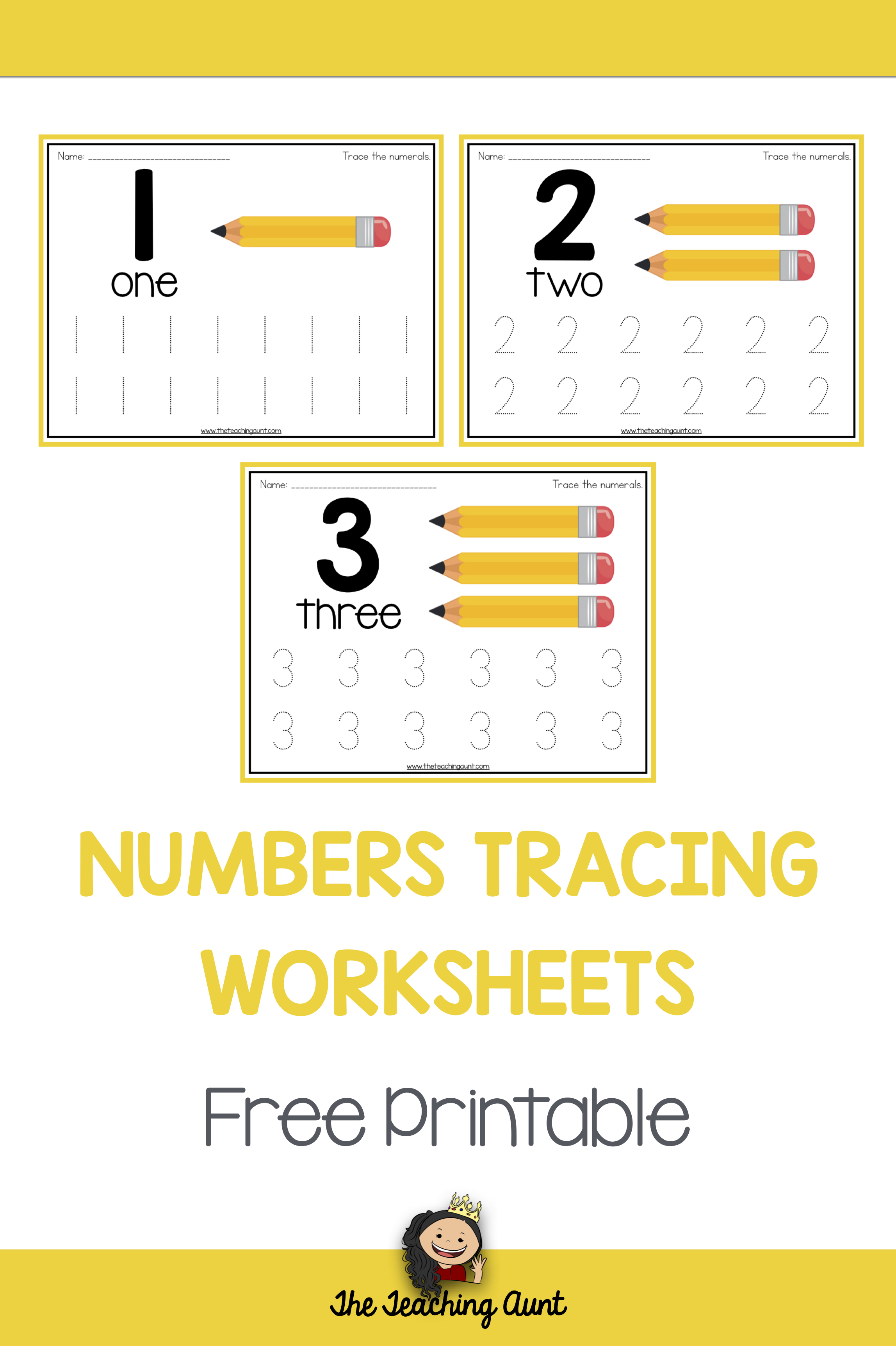 Number Tracing Worksheets For Children The Teaching Aunt Teaching Kindergarten Teaching Numbers Preschool Learning [ 3445 x 2295 Pixel ]