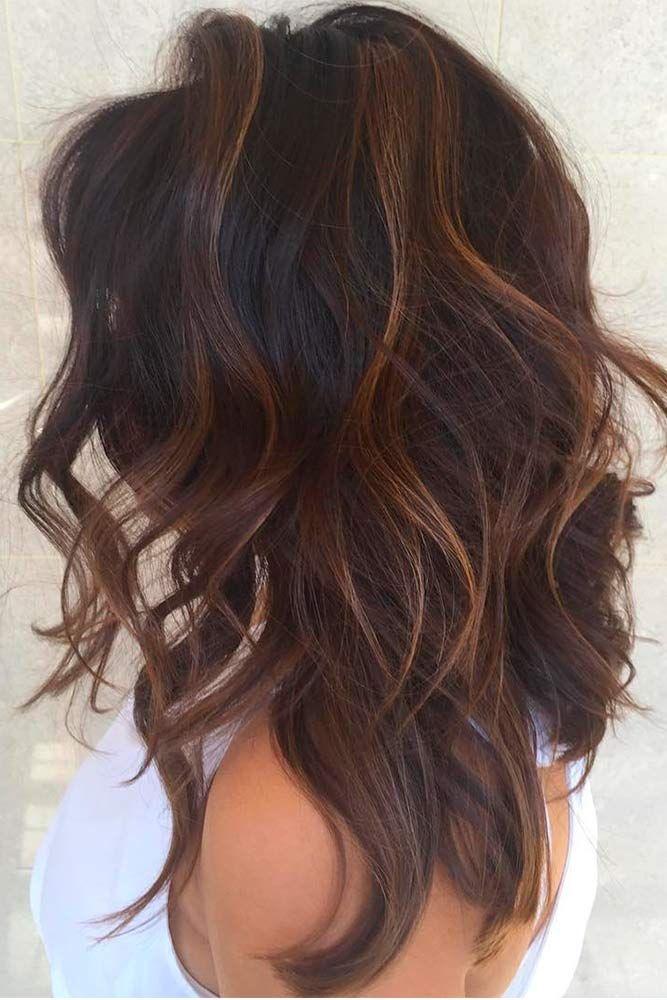 40 Game Changing Medium Length Layered Haircuts For All Textures Dark Brown Hair Balayage Brown Hair Balayage Long Shag Haircut