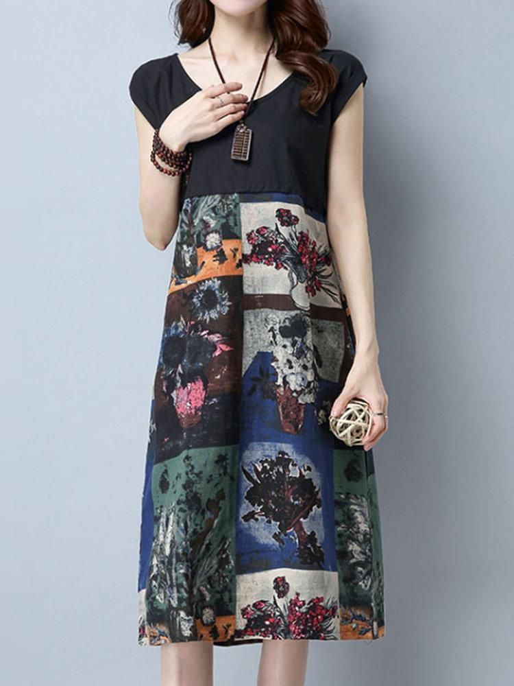 Casual Patchwork Floral Print Short Sleeve O-neck Dress For Women #chiffonshorts