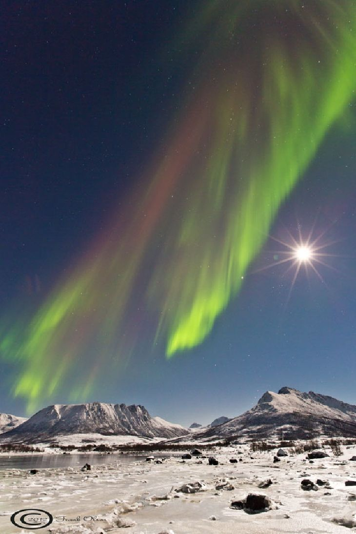A coronal mass ejection hit Earth's magnetic field on Oct. 31st around 1530 UT. The impact jolted Earth's polar magnetic field and sparked auroras around the Arctic Circle. Frank Olsen sends this picture from Sortland, Norway