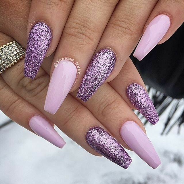 Ballerina Nails. Spring Nails. Purple Gel Nails. Acrylic Nails. Glitter Unghie  Viola