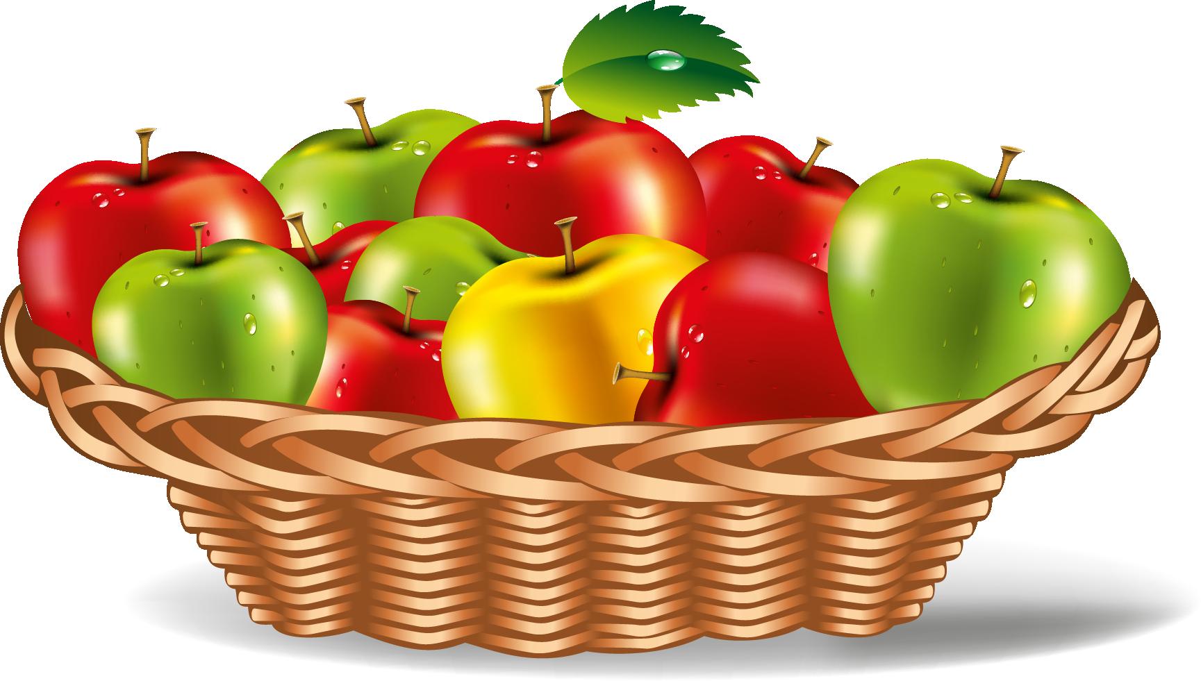 Apple Plate Vector Art Meyve, Sebzeler, Ürünler