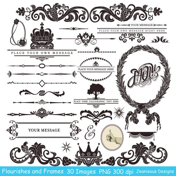 Vintage calligraphy clip art design style elements wedding vintage calligraphy clip art design style elements wedding invitation embellishments flourishes swirls and frame 008 stopboris Image collections