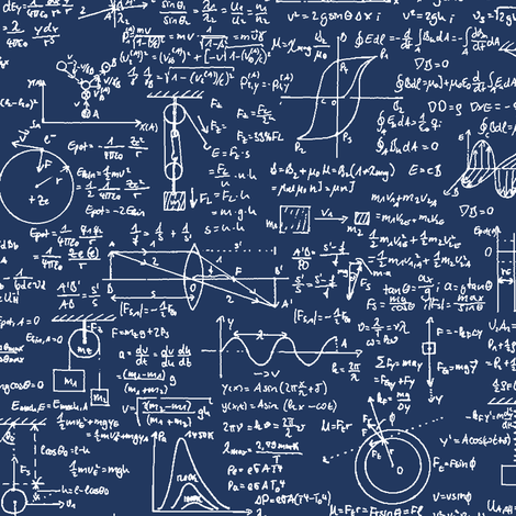 Colorful Fabrics Digitally Printed By Spoonflower Physics Equations On Navy Large Physics Math Wallpaper Equations