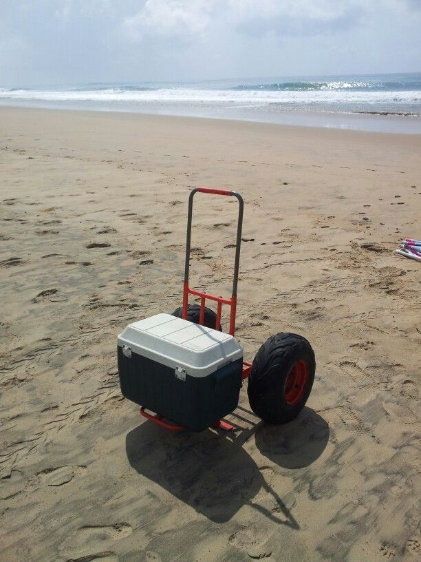 Beach cart folding trolley easily take your cooler box for Folding fishing cart