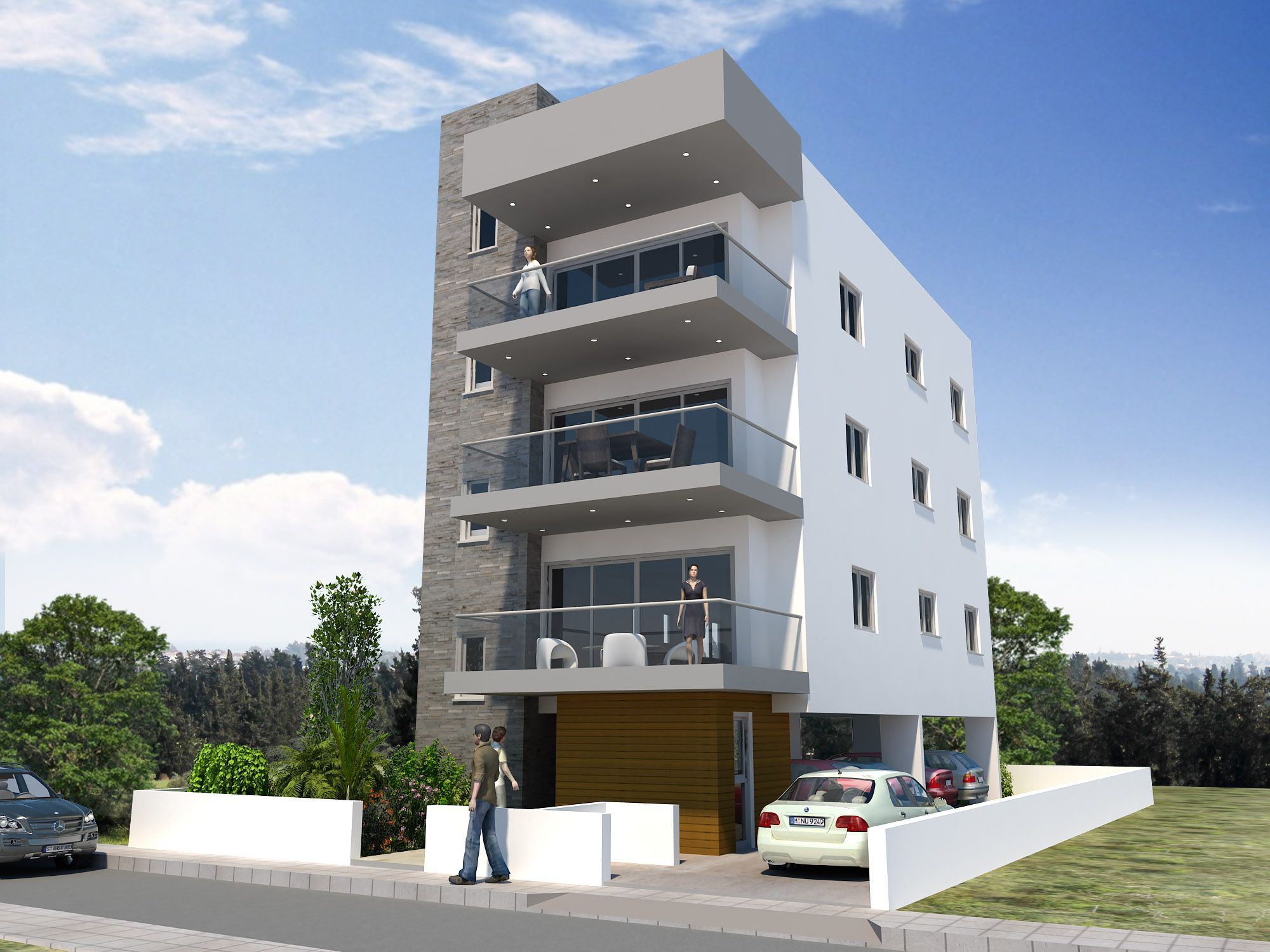 3 story buildings for Small apartment building designs