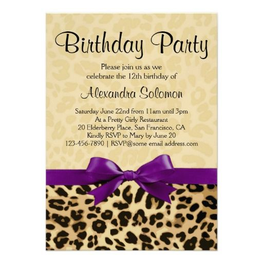 Leopard Print Grape Purple Bow Girl Birthday Party Invitation Fun