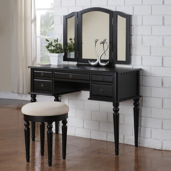 Image Of Marvelous Large Bedroom Vanity With Chair And White Brick  Hardboard Wall Panel Also Decorative Swan Statue Alongside Small Square  Ceramic Planters ...