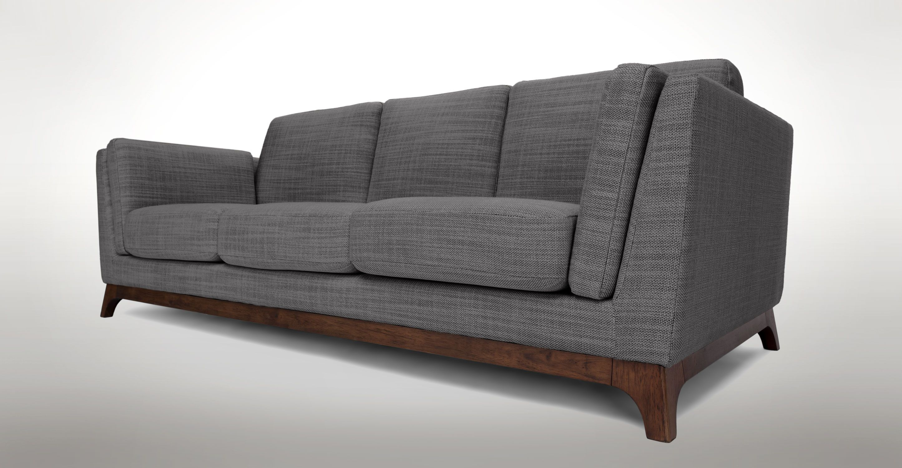 Gray Sofa 3 Seater With Solid Wood Legs