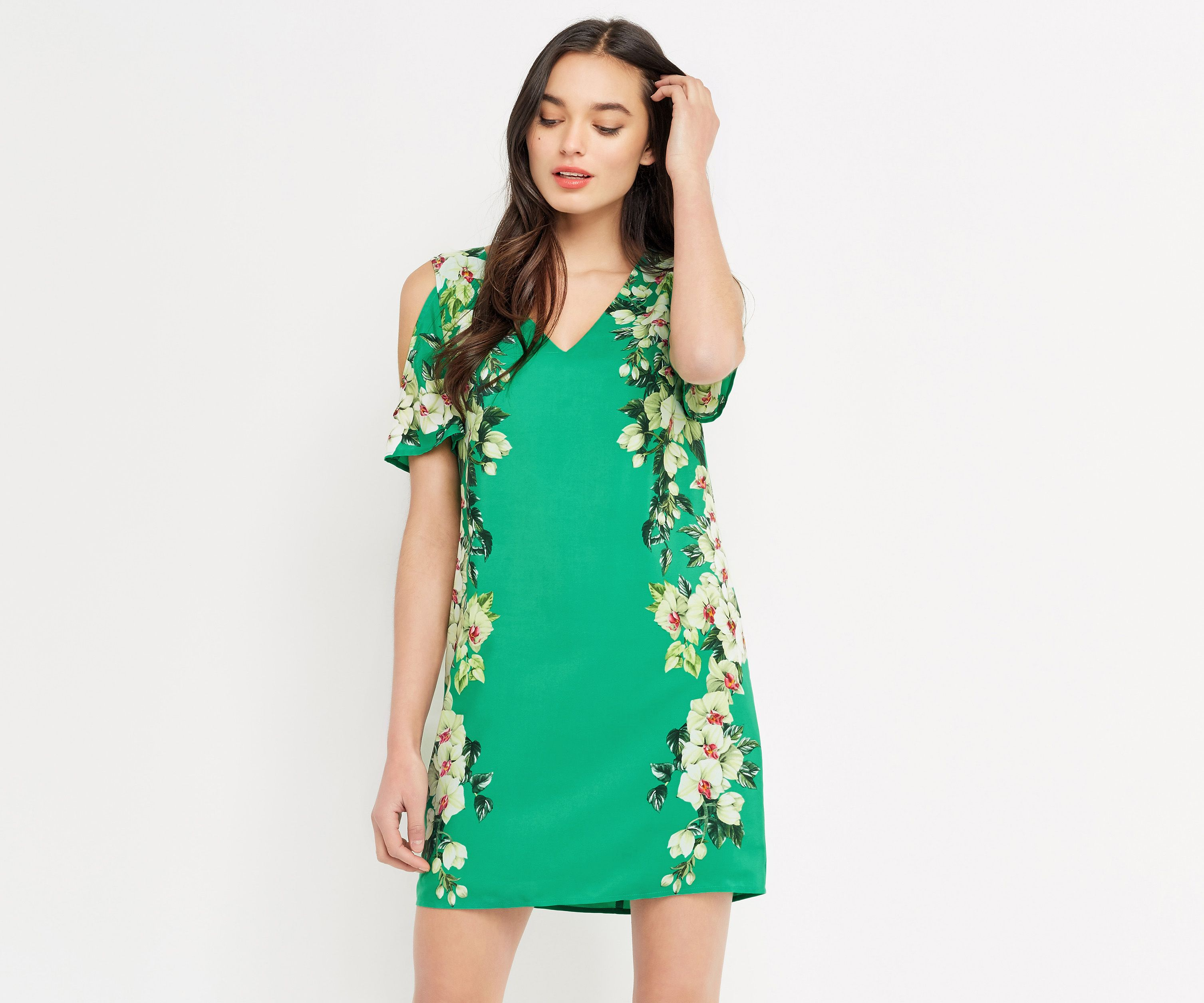 Oasis, TROPICAL COLD SHOULDER DRESS Multi Green | Lace, Sequins and ...