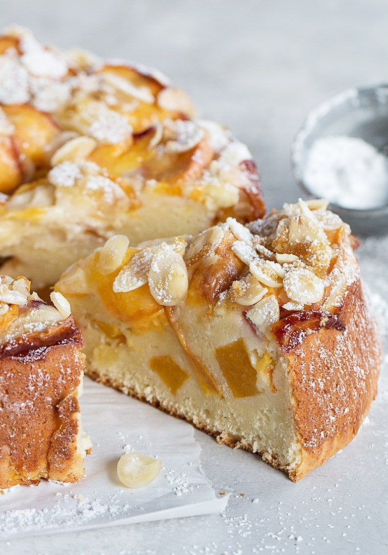 Peach Ricotta Cake A Wonderfully Moist Cake This Peach Ricotta Is Full Of Peaches And Made Without Oil Or Butter Li Peach Cake Recipes Desserts Moist Cakes