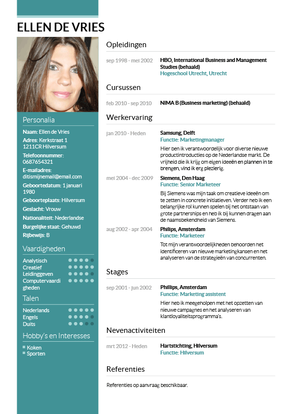 Voorbeeld CV | Trad. Curriculum vitae | Pinterest | Layouts and Cards