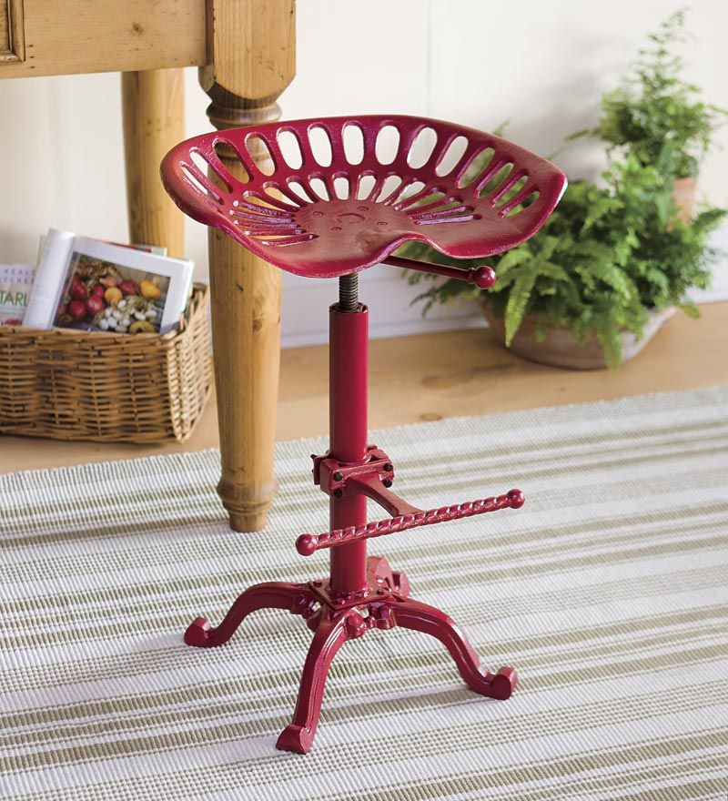 Vintage Iron Tractor Seat Adjustable Stool from Plow and