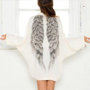 Angel Wings Print Women Loose Cardigan