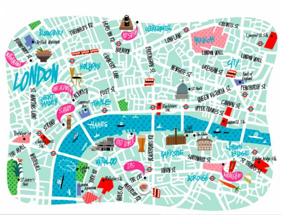 London Center Map.Phil Hankinson Map Of London Wanderlust Map Design Map Art
