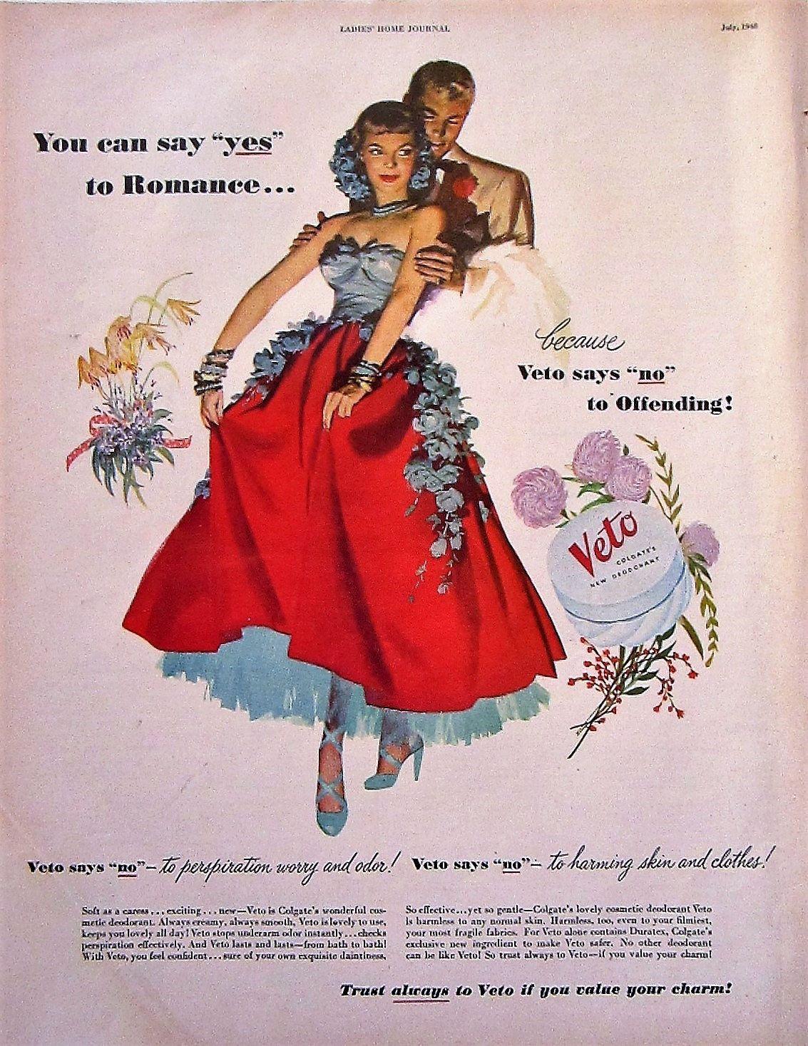 Vintage bathroom ads - 1948 Colgate Veto Deodorant Vintage Advertisement Bathroom Wall Art Powder Room Decor Original Magazine Print Ad Paper Ephemera