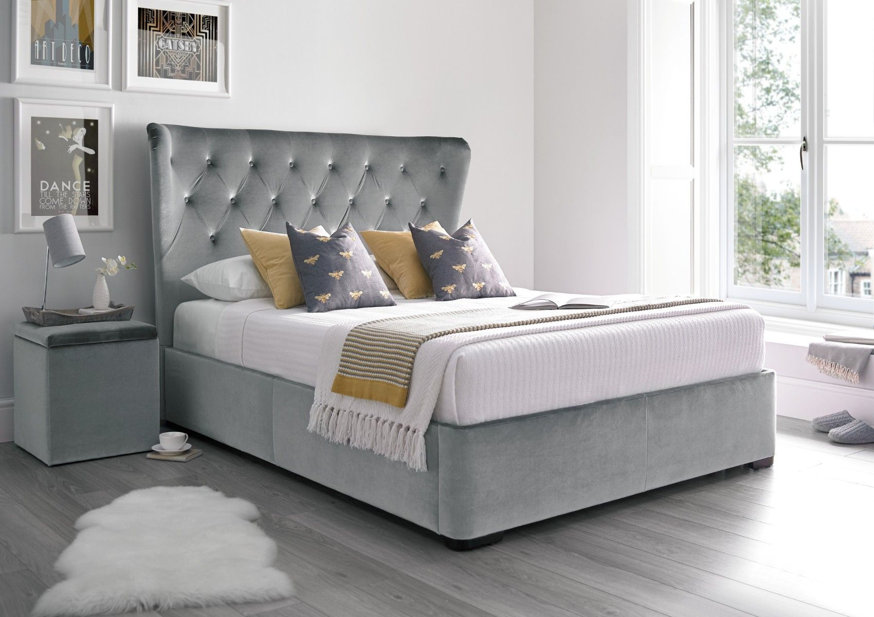 Savannah Upholstered Winged Ottoman Storage Bed - Velvet Grey ...
