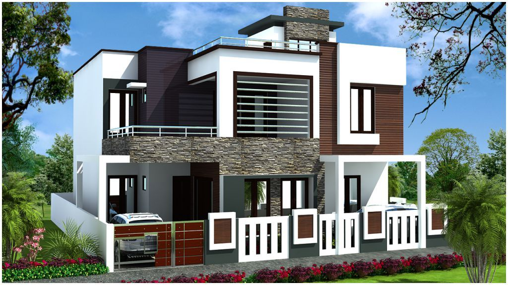 Duplex house design in around 200 square meters hauses for Front elevations of duplex houses
