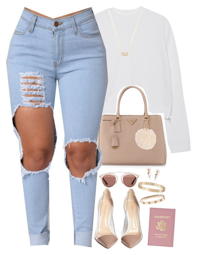 """Ripped jeans are my March favs"" by daisym0nste ❤ liked on Polyvore featuring Acne Studios, Prada, Christian Dior, Gianvito Rossi, Gold Philosophy, Kendra Scott and Cartier"