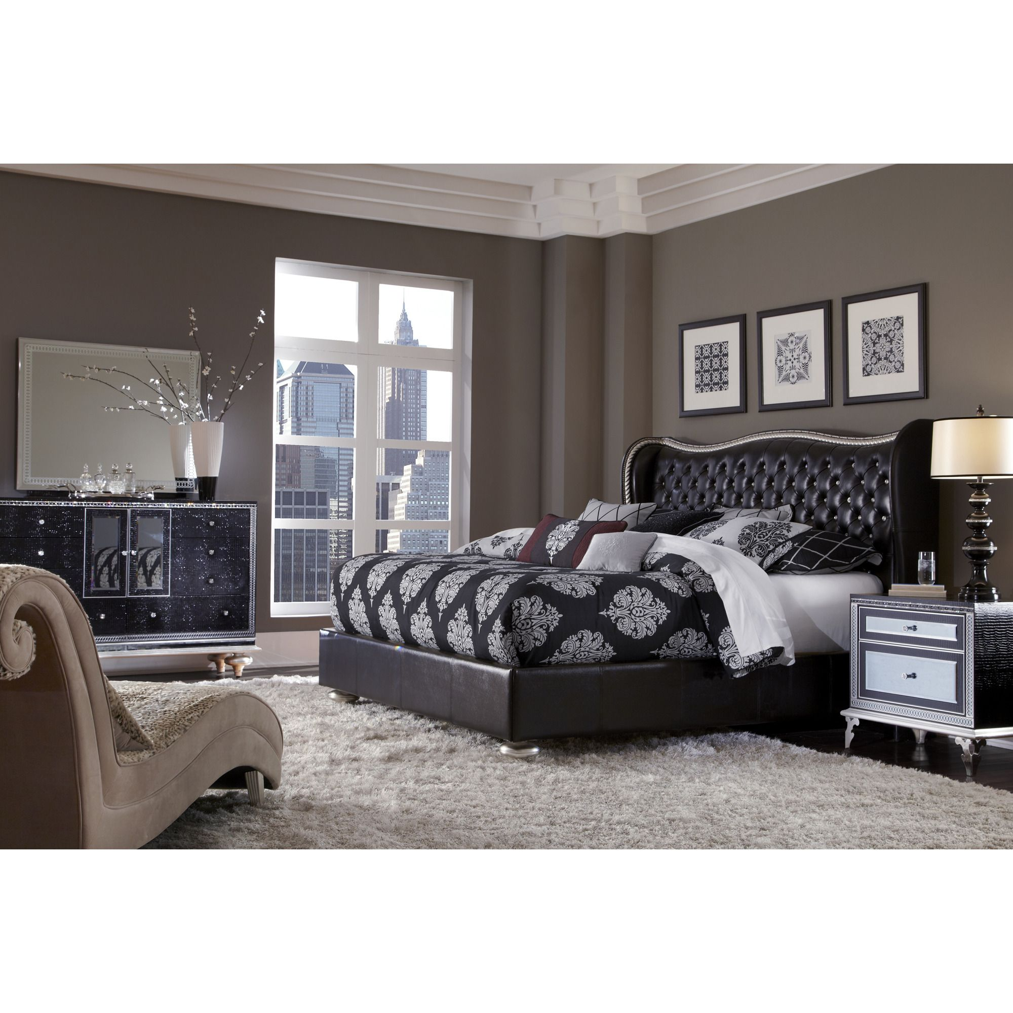 Hollywood Swank Upholstered Bedroom Set By AICO