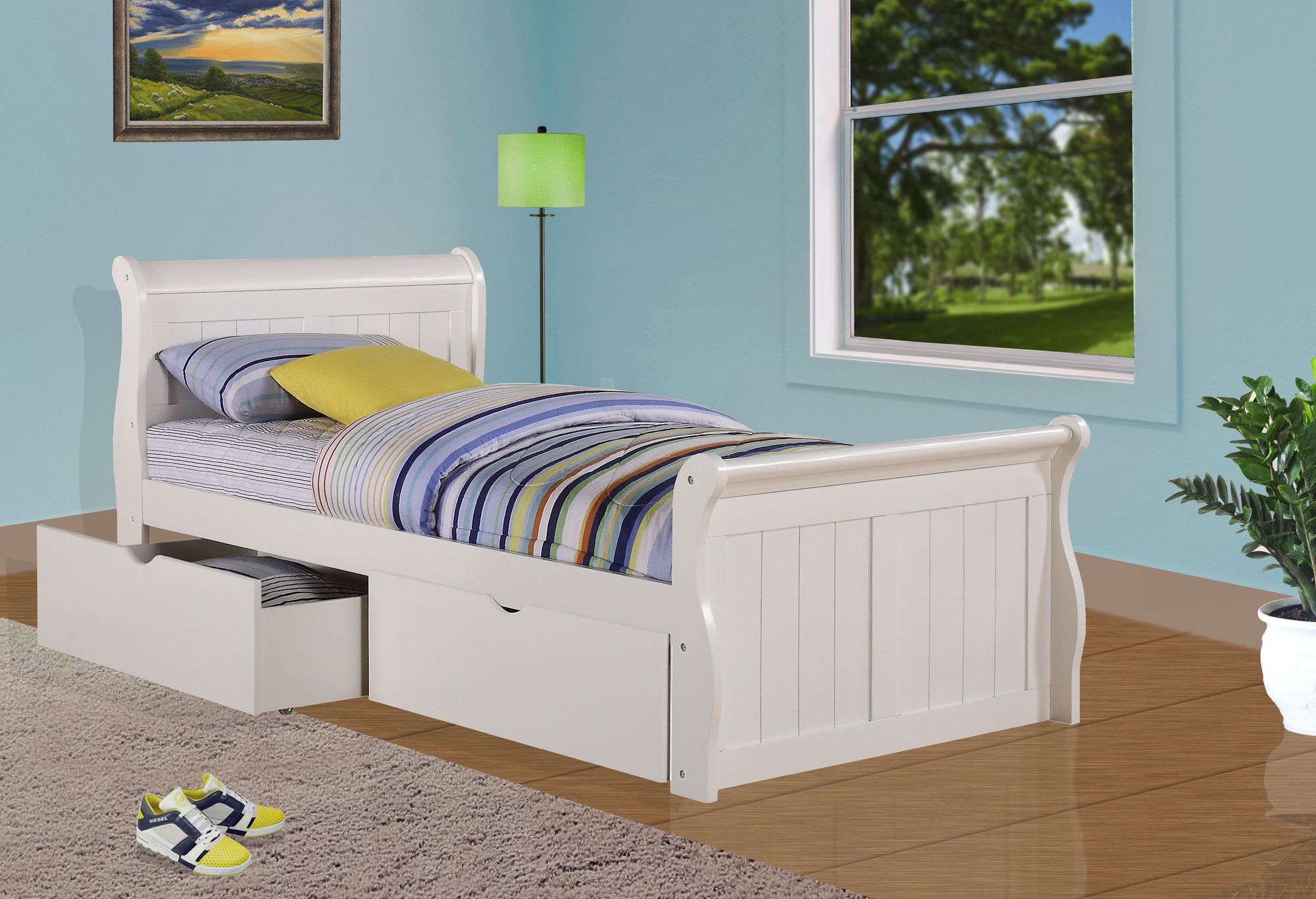 Sleigh Bed with Dual Underbed Drawers | Products | Pinterest