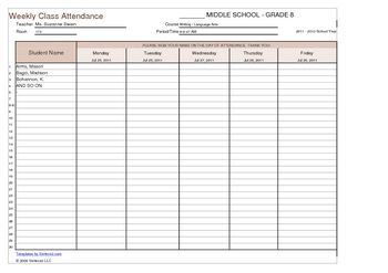 Weekly student sign in sheet template back to school for Back to school sign in sheet template