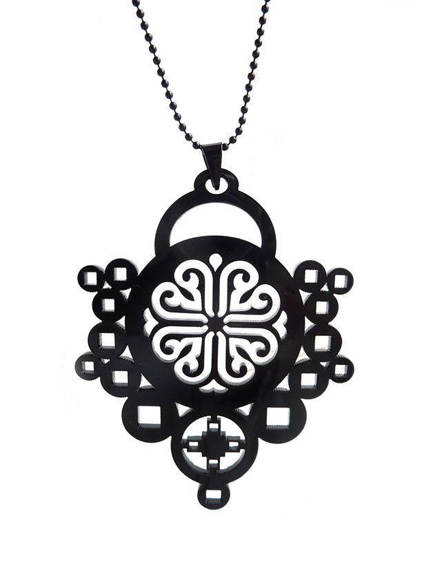 Bedelketting - Collectie 'Black beauties' (S-755b) - Een uniek product van DomesDesign op DaWanda