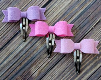 Felt bow snap clips baby toddler girls hair by muffintopsandtutus