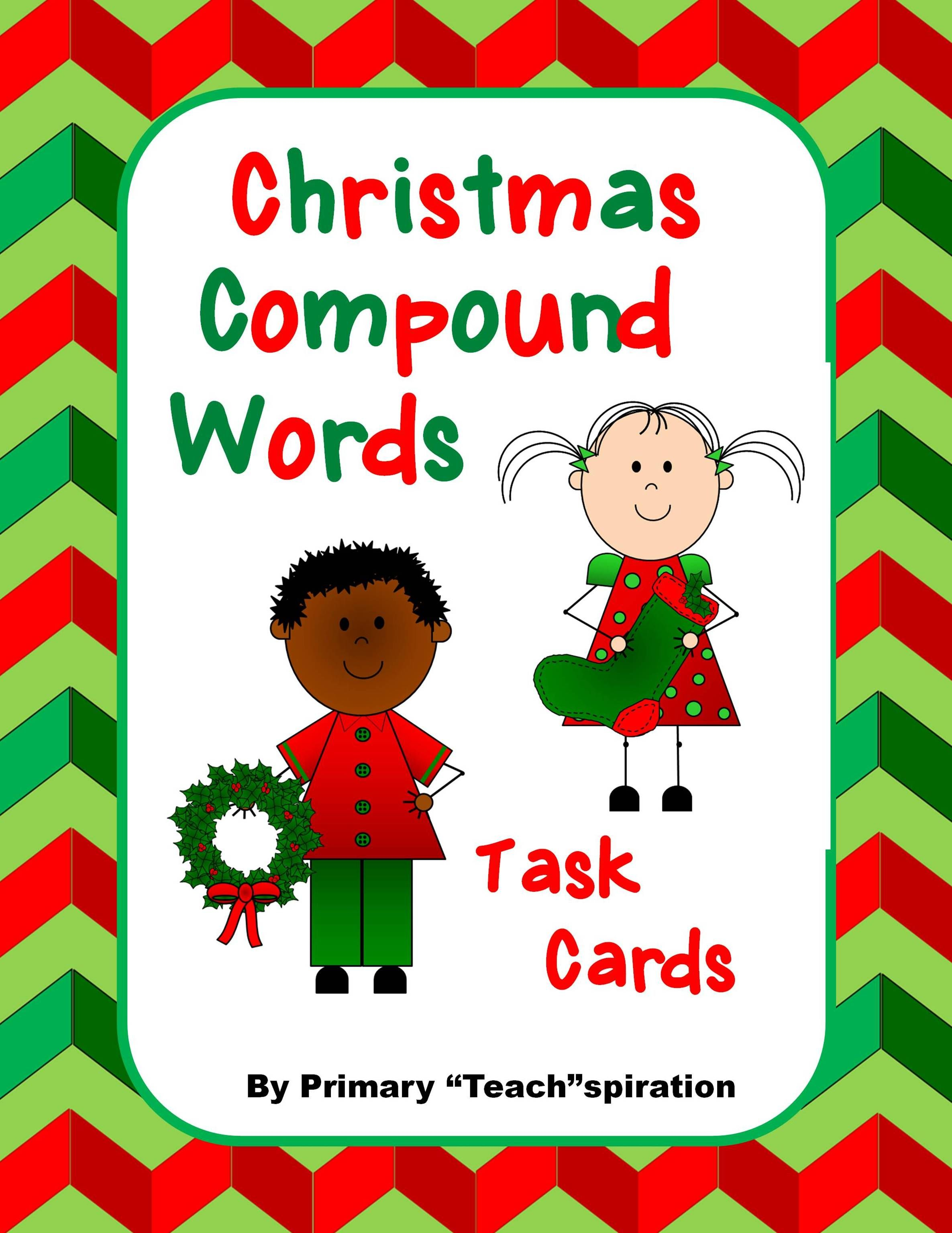 Compound Words Task Cards For Christmas