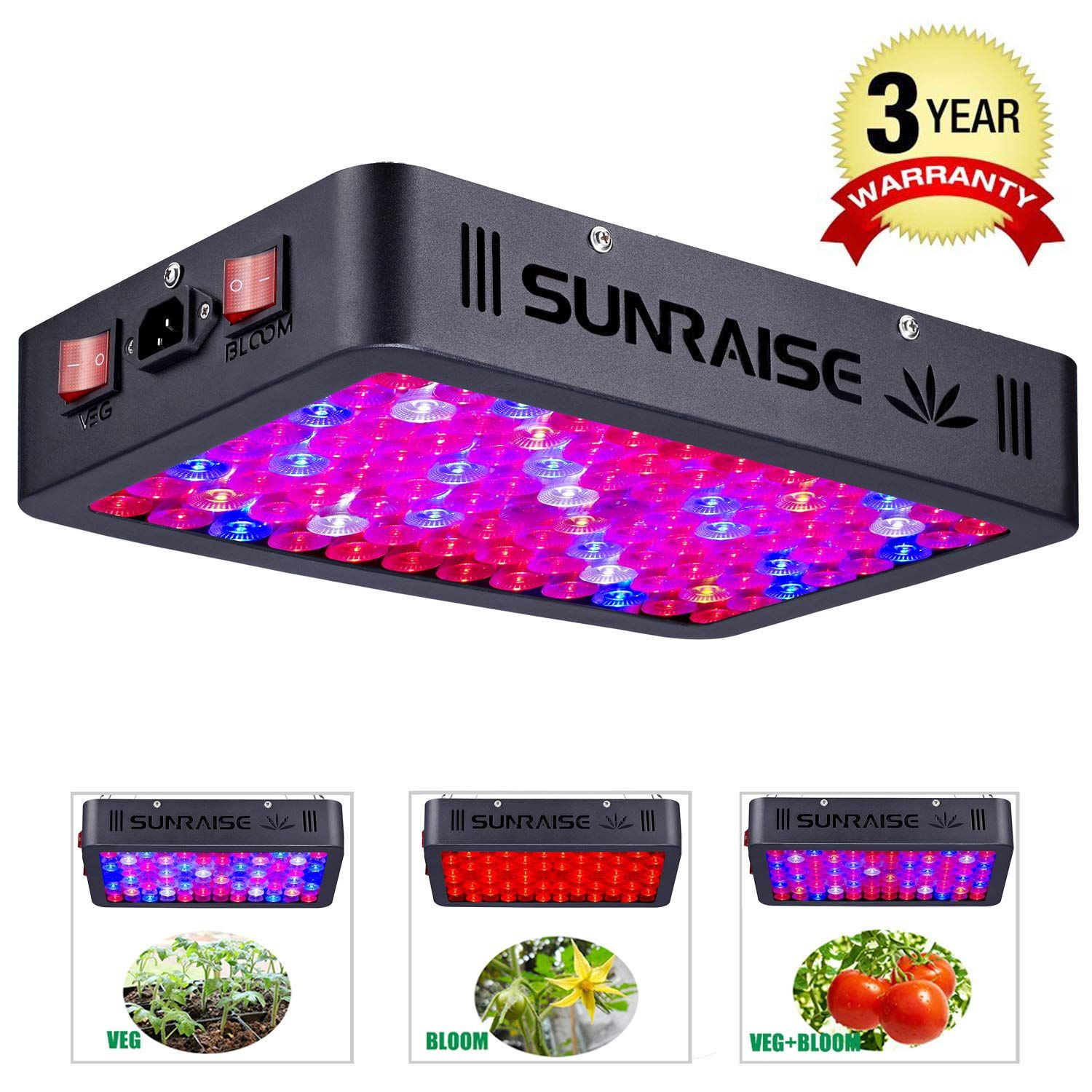 Yehsence 1500w Led Grow Light With Bloom And Veg Switch 15w Led Triple Chips