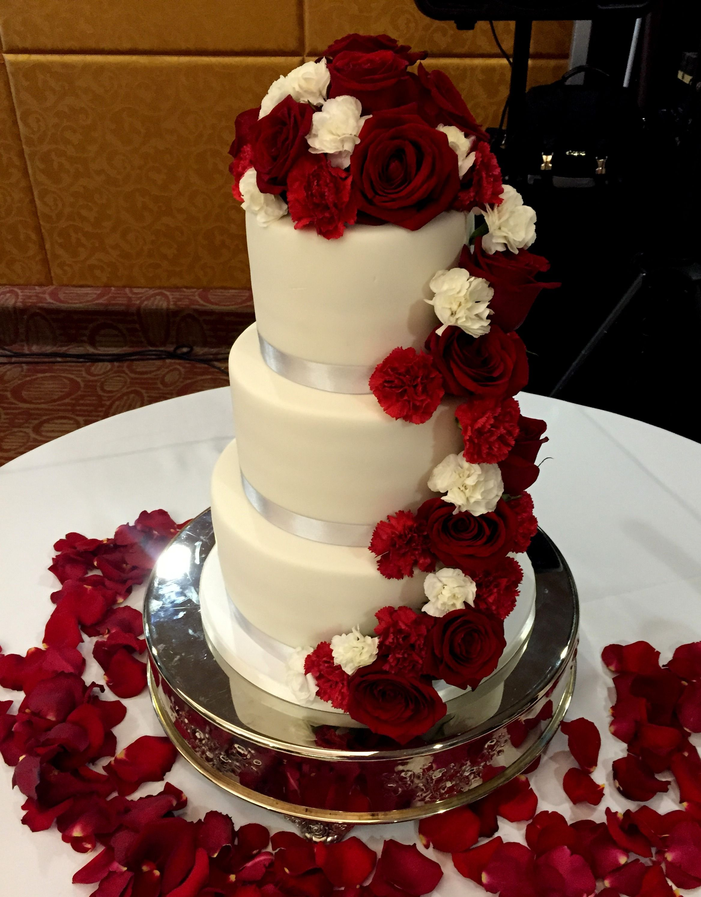 cascading red roses wedding cake roses cascade fondant wedding cake wedding cakes 12430
