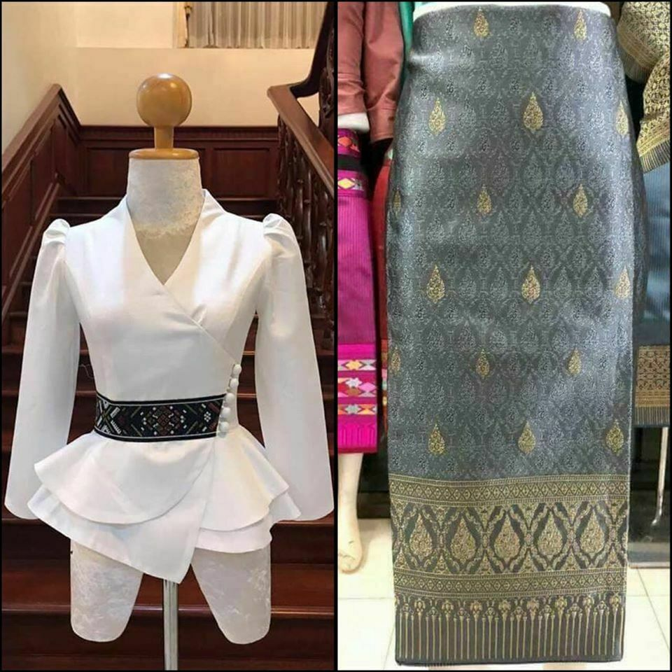 , White Lao Laos Silk Long Sleeve V neck Blouse Sinh Pha Bieng Clothing Size 0-16 #MukdahanCraft #laos, Hot Models Blog 2020, Hot Models Blog 2020