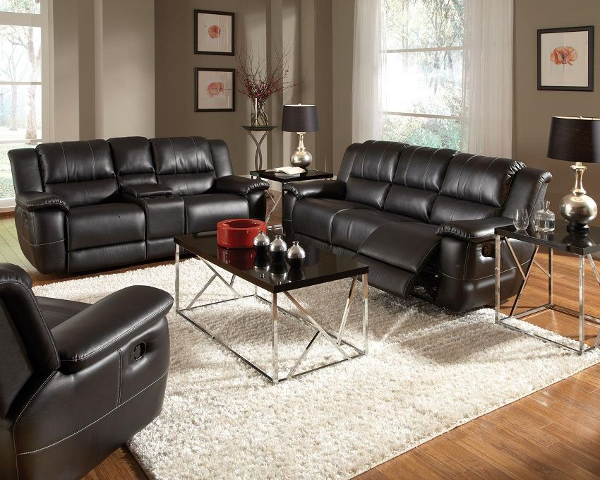 Best Bonded Leather Reclining Sofa Set Newport Beach Black 640 x 480