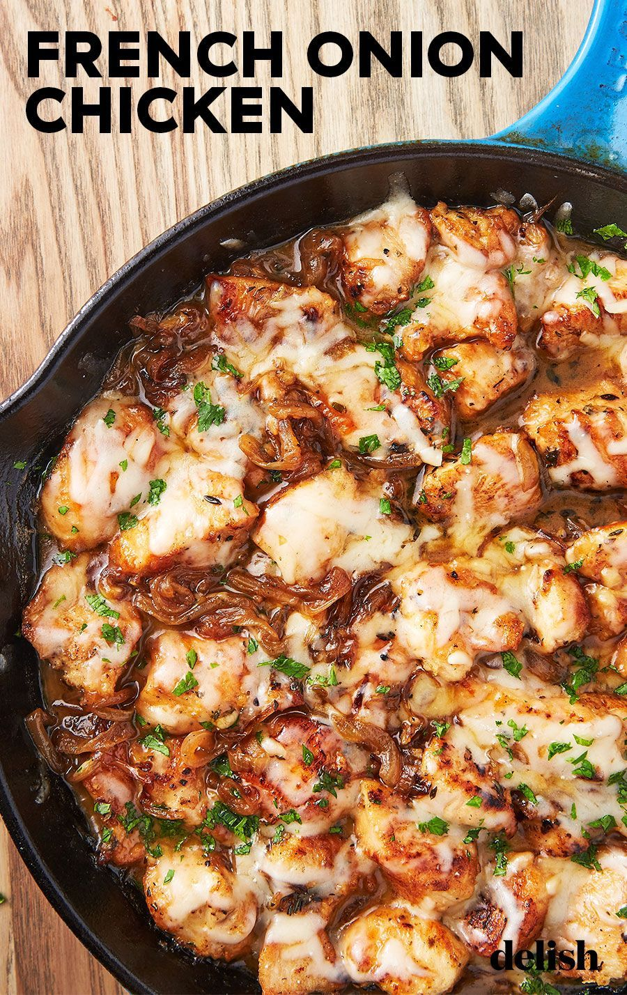 Love french onion soup? You need to try this skillet dinner. Get the recipe from Delish.com. #chicken #dinner #recipe #skillet #chicken #french #onion #recipes #dinnerrecipes