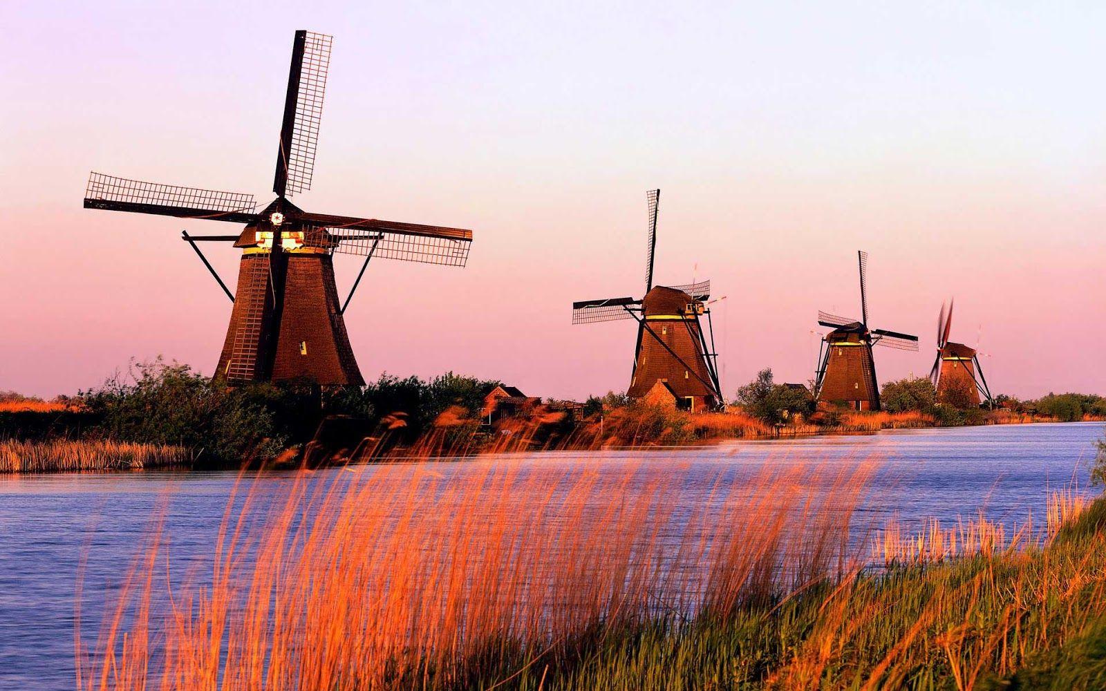 Mill Network At Kinderdijk Elshout Netherlands Traveling Tour Guide Kinderdijk Scenery Windmill