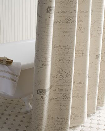 French Script Shower Curtain By Laundry Home At Horchow