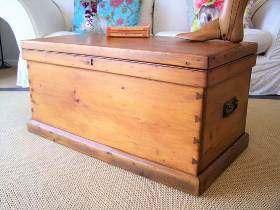 finest selection 43639 60604 Large Antique Pine Chest Restored Vintage Trunk COFFEE TABLE ...