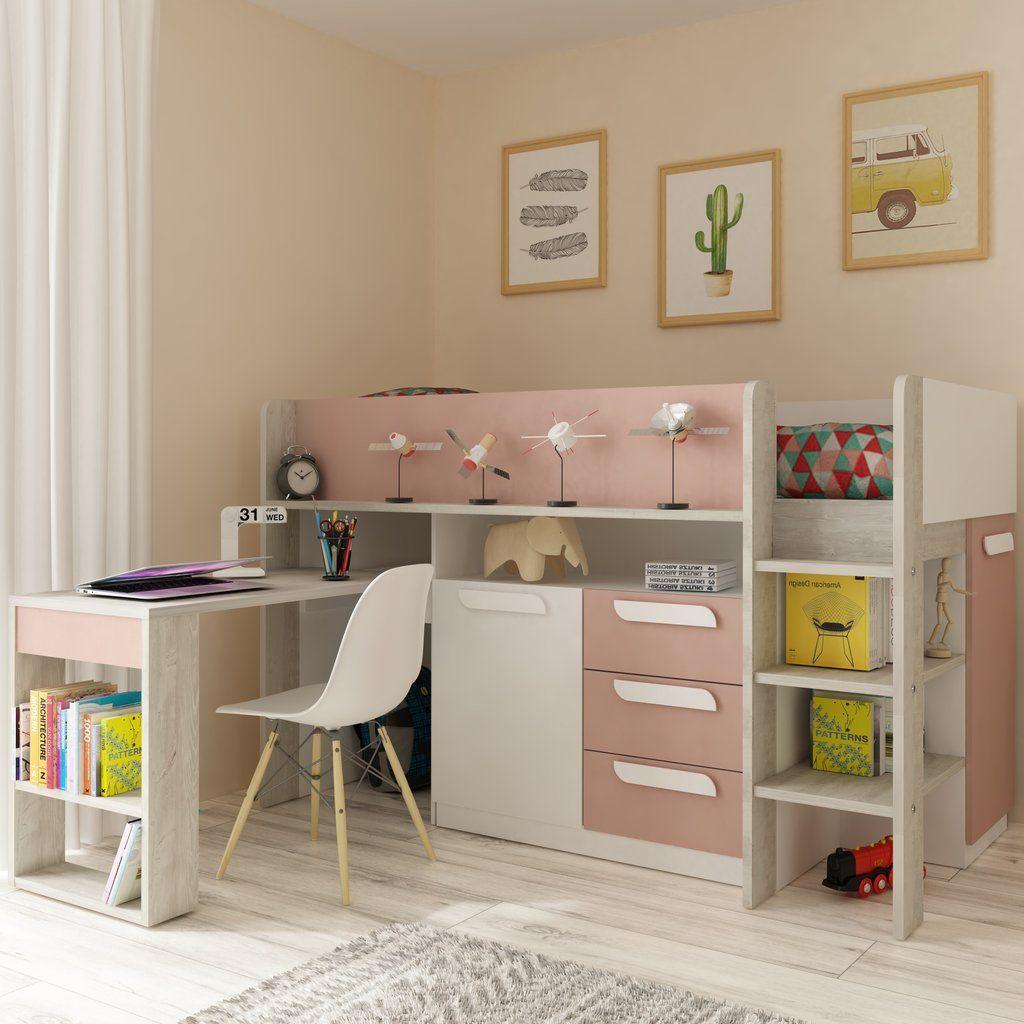 Trasman Pink Girona Midsleeper Bed with Desk & Storage images