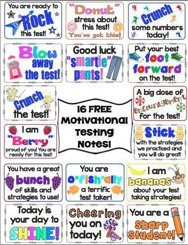Test Prep Motivational Testing Notes Freebie Classroom Decor