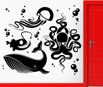 Wall Stickers Vinyl Decal Ocean Fish Whale Octopus Jellyfish Decor - How to make vinyl wall decals with silhouette cameo