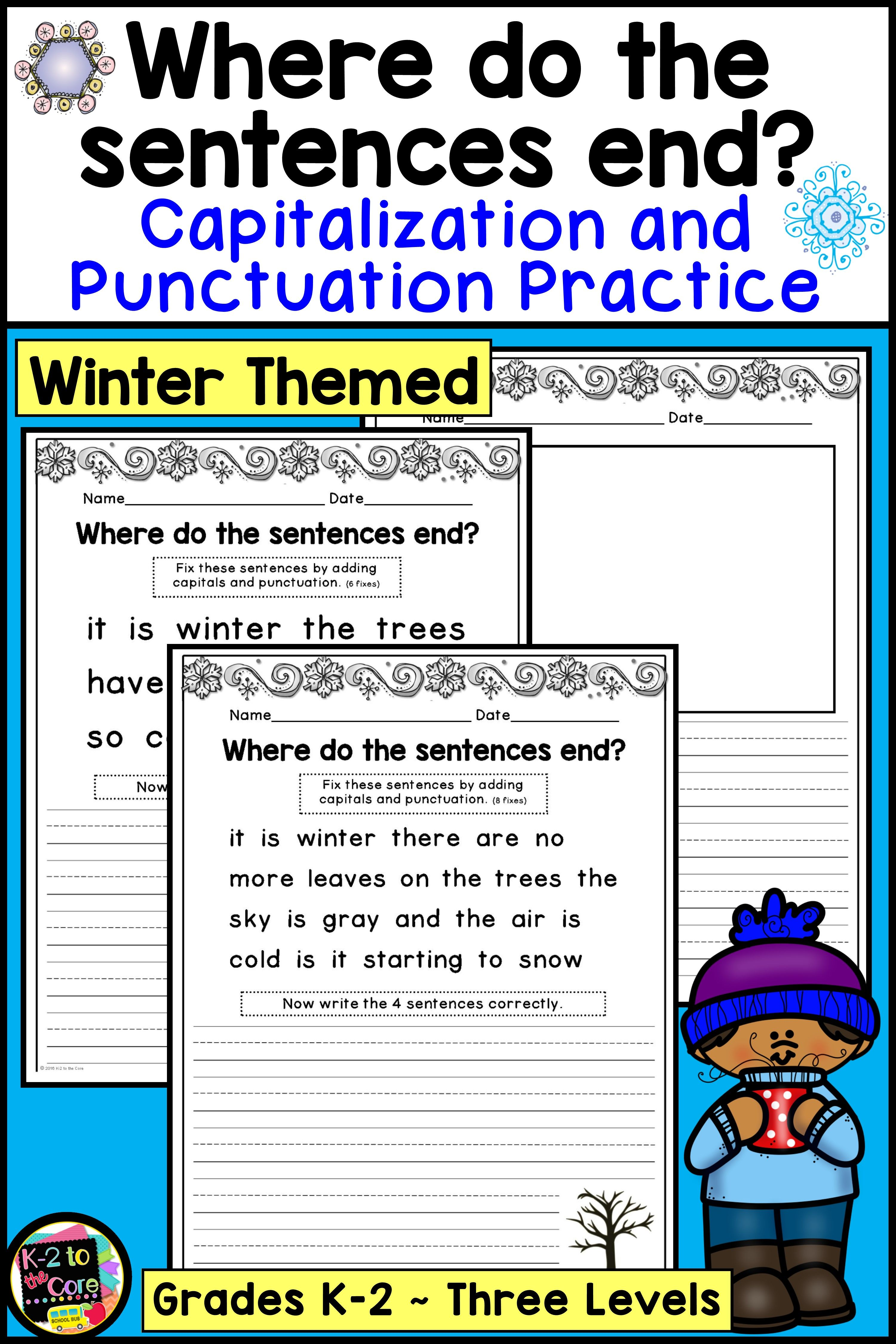 medium resolution of Winter Capitalization and Punctuation Practice Worksheets for Kindergarten 1st  Grade and 2nd Grade   Writing lessons