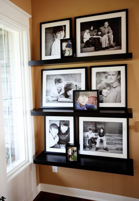 Picture shelves. I love the black and white with colored one mixed in!