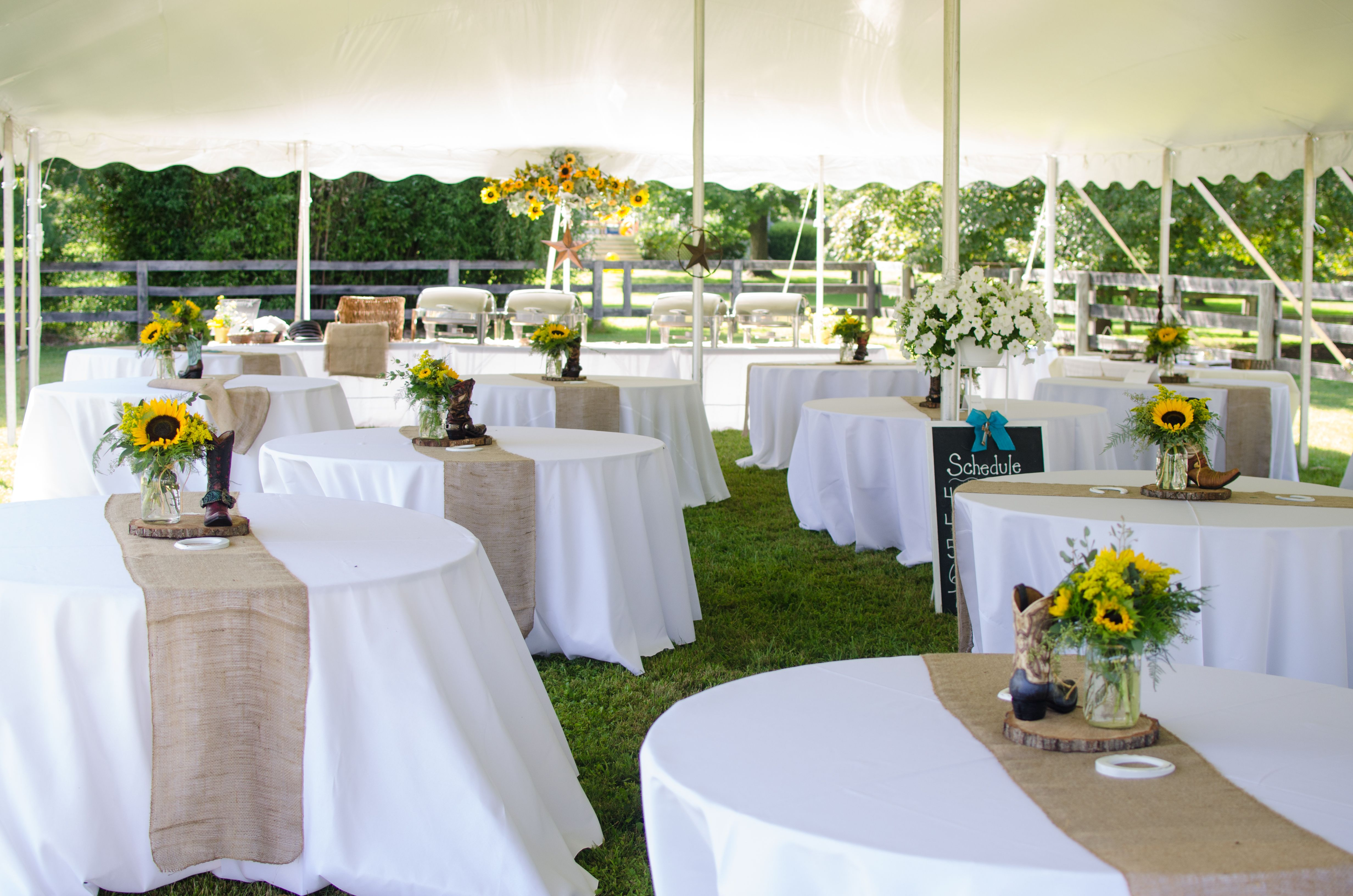Tented Reception at Private Farm Wedding with Burlap Table Runners