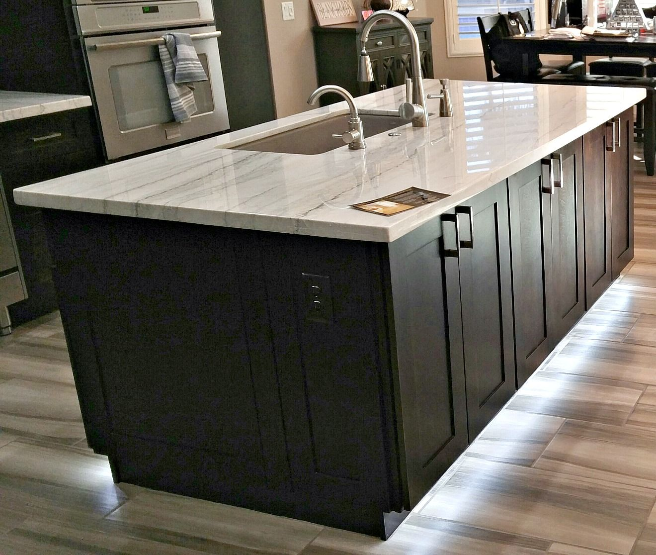 Stunning Island With Macaubus White Marble, Flat Polish Edge, And Stainless  Steel Under Mount