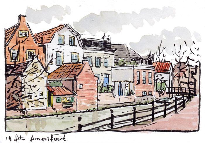 Langegracht, Amersfoort, aquarel, Roger Klaassen
