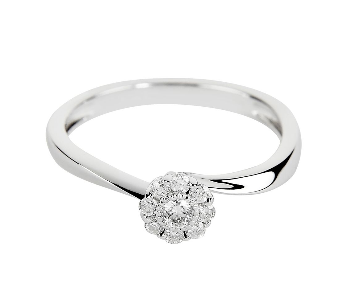 18ct White Gold Flower Cluster Diamond Set Engagement Ring AR00092W2RD From Berry's Jewellers