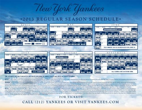 graphic regarding Yankees Schedule Printable named 2013 Routine A Yankee inside Exile Yankees