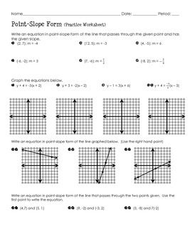 Point Slope Form Practice Worksheet With Images Point Slope