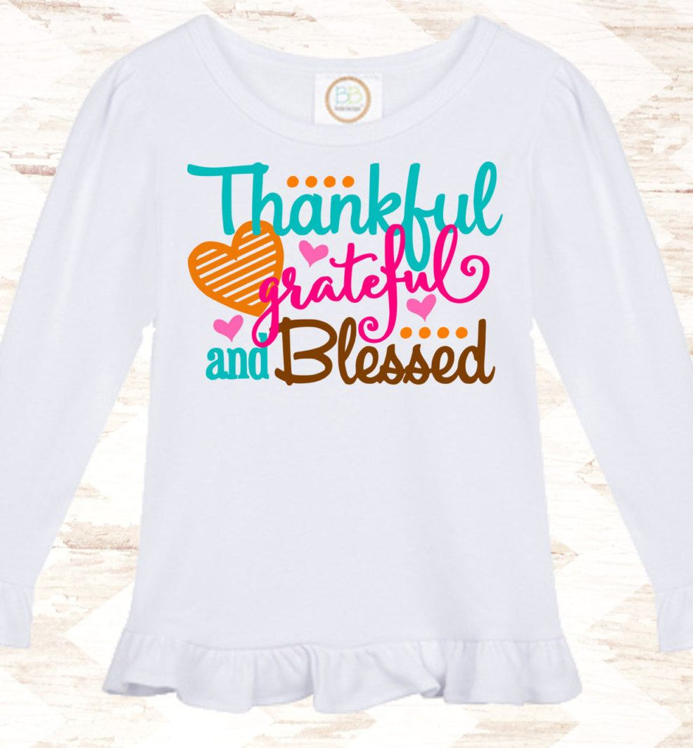 Thankful Grateful Blessed - Girls Thanksgiving Outfit - Baby Girls ...