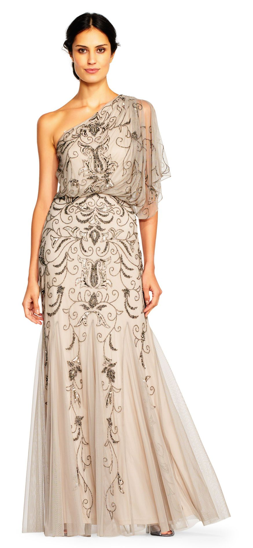 Adrianna Papell | One Shoulder Blouson Gown with Floral Beading | I ...